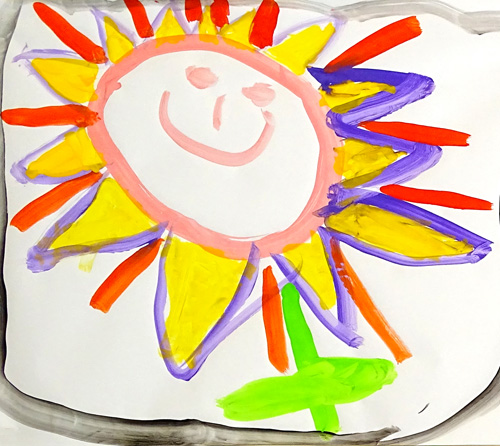 Blume mit Gesicht - von Kind gemalt